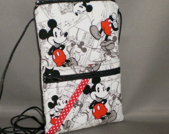 iPhone7 Purse - Passport Purse - Sling Bag - Hipster - Wallet on a String - Mickey Mouse