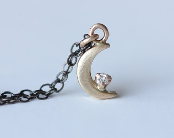 Diamond Crescent Moon Necklace - 14k Yellow Gold Recycled Gold Pendant - Oxidized Sterling Silver Chain - Mixed Metals