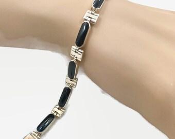 Black Onyx Bracelet, Sterling Bracelet, Vintage, Links, Linked, 950 Silver, Minimalist, Contemporary, Black Stone, Layer, Stack