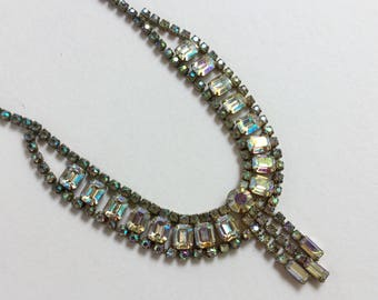Vintage 1950's Aurora Borealis Glass Bead Necklace