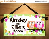 Spring SALE Sisters or Twin Girls Owls Love Birdies and Stripes DOOR SIGN Nature Forest Bedroom and Baby Nursery Kids Bedroom Wall Art Ds024