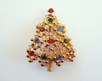 Eisenberg Ice Multi-Color Rhinestone Christmas Tree Holiday Brooch Pin Xmas