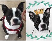 8x10 Custom Watercolor Pet Portrait (Dogs)