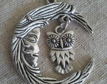 Night owl moon necklace
