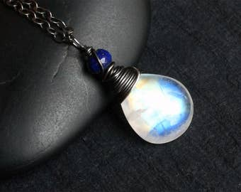 "Moonstone Necklace, Lapis Lazuli, Oxidized Sterling Silver - ""Blue Morning"" by CircesHouse on Etsy"
