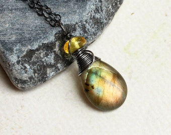"""Labradorite Necklace with Amber on Oxidized Sterling Silver - """"Fireleaf"""" by CircesHouse on Etsy"""