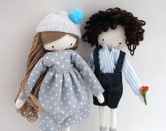 Set of 2 dolls rag dolls - plush toy  Laia doll and boy made to order
