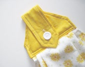 Hanging kitchen towel  button top quilted  cotton  top Pioneer Woman yellow gold