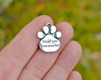 5  You left paw prints on my heart Silver Charm SC4104