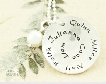 Personalized Hand Stamped Necklace / Names Necklace / Gift For Mom / Mommy Jewelry / Family Children Names by Christina Guenther