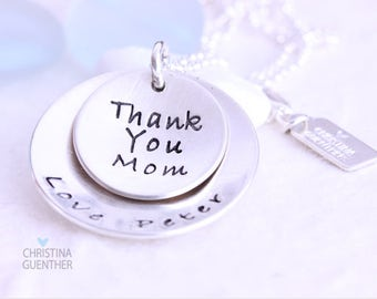 Personalized Sterling Silver Necklace | Hand Stamped Handmade | Childrens Name Gift for Mom | Christina Guenther