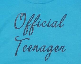 Official Teenager 13 Birthday Girl Glitter Vinyl Custom Shirt