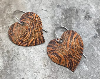 Earrings - Heart Earrings - Copper Earrings - Steampunk - Nickle Free - One of a kind - Handmade - Mothers Day - Graduation - Gift for Her