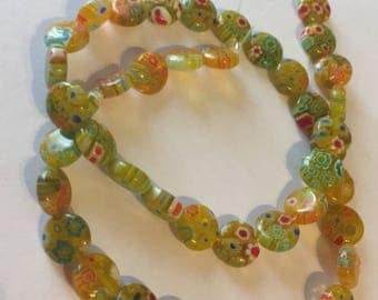 Golden Yellow Multi-colored Millefiori Flower glass beads - 15 inches - 10mm