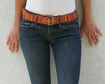 Orange striped fabric belt - Women fabric belt - Vegan belt - Fabric belt with metal buckle - Colourful striped - Light My Fire belt