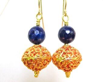 Faceted Lapis & Tibetan 22k Gold Plated Bead Earrings - Artisan Handmade Jewelry
