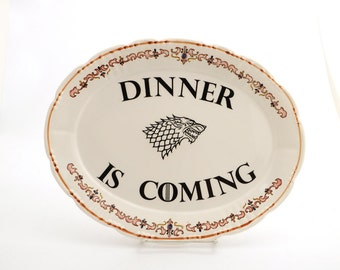 Game of Thrones , Dinner is coming , House of Stark , Jon Snow ,  home and living , ceramics and pottery, oval platter with direwolf