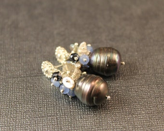 Winter Skies Earrings - Large Gray Freshwater Pearls, Baroque Pearls, Blue Quartz, Moonstone, and Hematite Tone Rondelles, Bali Silver Posts
