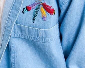 30% off SPRING SALE The Vintage Four Feathers Embroidered Vintage Denim Shirt