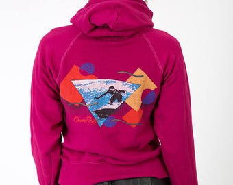The Vintage Magenta Pink 50/50 Oceean Pacific OP Hoodie Sweatshirt