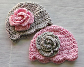 Twin Flower Hats, Crochet Baby Girl Hat, Twin Girl Gifts, Twin Photo Props, Pink and Gray Baby Hats for Girls