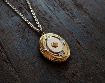 seashell locket // brass seashell necklace