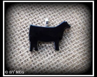 Black Glass Angus Show Heifer Pendant, Cattle Jewelry Small Approx 1.75""