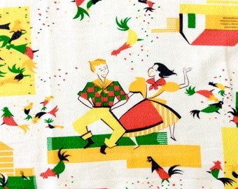 Tablecloth Old West Theme Square Dancers Indians Settlers