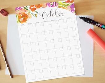 October Calendar, Printable calendar, Reusable printable calendar, perpetual, any year, printable DIY, letter size, 8.5 x 11