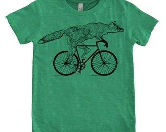 Fox on a Bicycle- Kids T Shirt, Children Tee, Tri Blend Tee, Handmade graphic tee, sizes 2-12