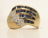 Vintage 14K Sapphire Diamond Ring 1970s, 585 Sapphire Diamond Fashion Ring, Patriotic Jewelry