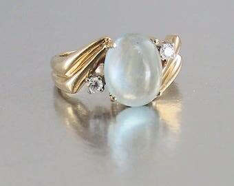 14K Moonstone Diamond Ring Vintage 1970s, Engagement Ring, Wedding Ring, Moonstone Ring with Diamonds, Lovers Ring