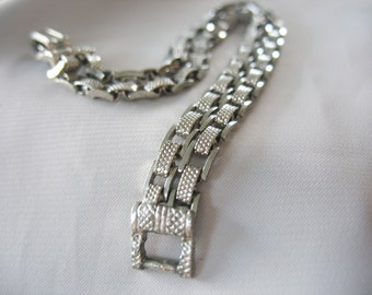 Link Chain Bracelet, Tank Tracks, Double Chain, Textural, Silver Tone, 1940's, 10mm wide, Double strand, Square link, Textured bars