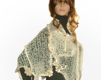 Womens Cream OOAK freestyle knitted scarf, wrap shawl with freeform crochet motifs