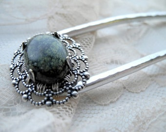 Green Serpentine Cabochon - Hair Fork - Custom Made to Order-  hair accessories, metal hair comb, hair stick, u pin, woman