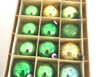 SALE 30% OFF CHRISTMAS Vintage Christmas Tree Ornaments Mercury Glass Green Gold Blue Mini Balls Feather Tree
