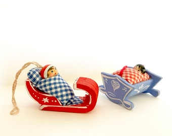 Vintage Christmas Ornaments Babies Cradle Sleigh Red Blue Wooden Figurines Made in Italy