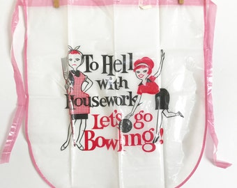 Vintage Half Apron Housewife Bowling Prize Gag Gift Novelty Plastic Apron