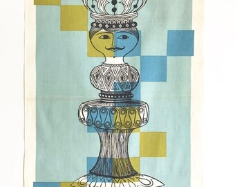 Vintage Towel King Chess Piece MOD Wall Hanging Modernist Textile Mustache Father's Day Gift