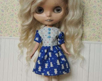 Blue Polar Bear Dress for Blythe, puffy sleeves