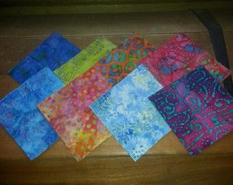 "Collection of 32 Batik  Jewel Tone Fabric Squares  5"" x 5"""