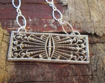 Vintage Silver Filigree Bar Pendant Necklace, Sterling Silver Chain, Art Nouveau Cannetile