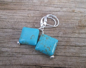 Turquoise  Howlite Diamond Drop Bead Earrings