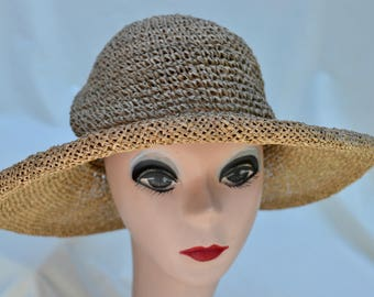 Vintage Seagrass Straw Sun Hat / 1990's Seagrass Straw Hat / Vintage Womens  Straw Hat / Vintage Summer Straw Hat