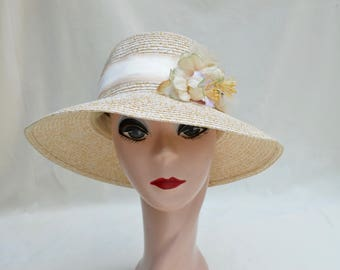 Summer Cloche Hat With Flower Trim / Downton Abbey Inspired Cloche Hat / Beige Cloche Hat / Vintage Inspired Cloche Hat  / Straw Cloche Hat