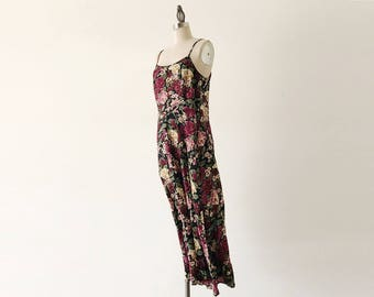 Vintage 1990s Long Floral All That Jazz Maxi Midi Slip Dress - XS/S