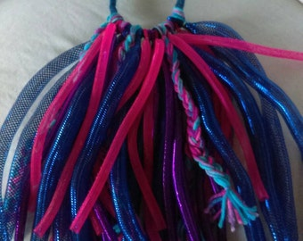 Ready to ship purple pink blue Cryn tubing wool dread Colorful Dreadfall Hairpiece Raver Punk Costume Hair Clubbing Cosplay