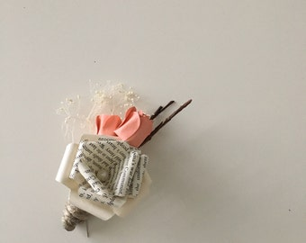The Coral Taylor Paper Rose Boutonniere