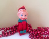 "Vintage 60's Japan Elf Knee Hugger Shelf Sitter Ornament Rubber Face Sits 4"" Tall"