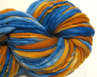 Handspun Yarn, Koi 120 yards, hand dyed merino wool, blue yarn, gold yarn, orange yarn,  waldorf doll hair, knitting supplies,crochet